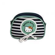 Νεσεσέρ οβάλ μικρό μπλέ-φυστικί ριγέ Hello Kitty