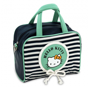Τσάντα μπλέ/φυστικί ριγέ μεσαία Hello Kitty